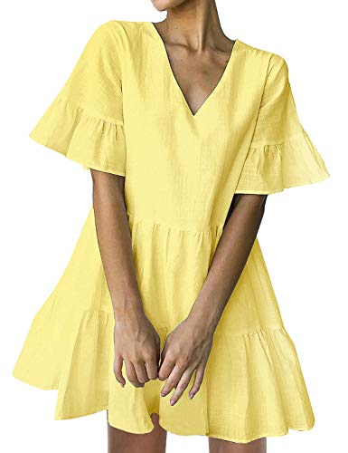 FANCYINN Women's Cute Shift Dress with Pockets Fully Lined Bell Sleeve Ruffle Hem V Neck Loose Swing Tunic Mini Dress Yellow L