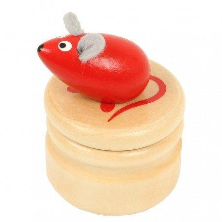 Boite à dents de lait souris rouge boîte en bois couvercle à visser enfant 5 ans Ulysse