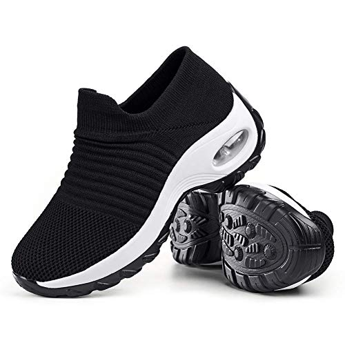 Women's Walking Shoes Sock Sneakers - Mesh Slip On Air Cushion Lady Girls Modern Jazz Dance Easy Shoes Platform Loafers Black&White,7.5