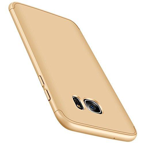 Vanki? Coque Galaxy S6 Edge, Ultra Rigide Lger 360 Case Degres Souple 3-en-1 PC Rcurer Protector Shell pour Samsung Galaxy S6 Or