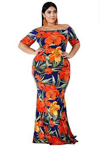FacnyPrintMe Women's Plus Size Maxi Dresses Short Sleeve Printed Formal Party Dress Orange 4XL (California Floral Dress)