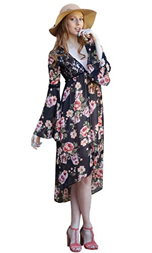 Millibon USA Pearl Ladies Victorian Vintage Rose & Lace Duster With Tie (Pearl Duster)