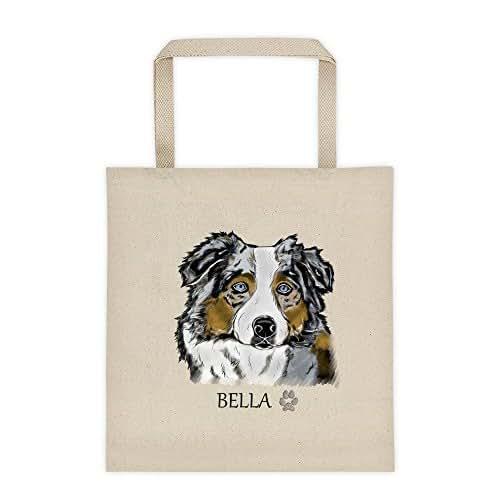 Australian Shepherd Dog Portrait Color Design Large Reusable Cotton canvas Grocery Shopping Tote Bag