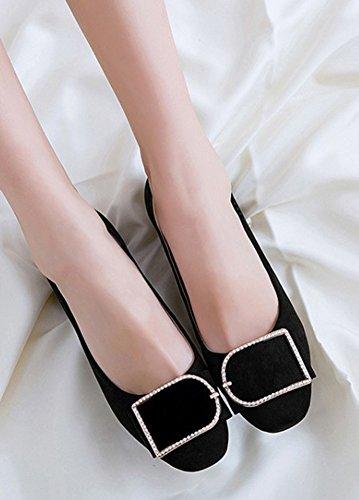 Aisun Womens Trendy Chunky Mid-hiel Chic Vierkante Teen Laag Uitgesneden Slijtage Aan Werk Office Slip Op Pumps Schoenen Zwart