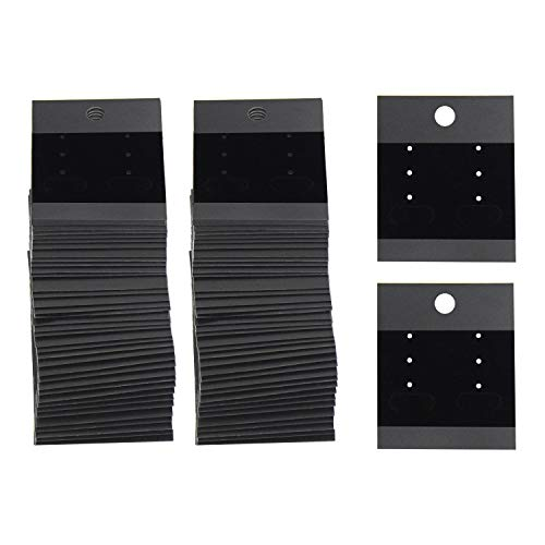 120 Pcs Earring Cards, Velvet Plastic Display Earring Card Holder for Jewelry Accessory Display 1.65 x 2 inch (Black)