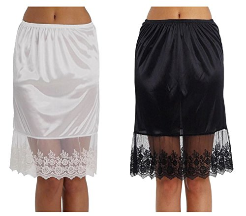 Women's Single Lace Satin Skirt Extender Half Slip For LENGTHENING 2 Pieces Combo Pack Plus Size - Plus Size Skirt Slip