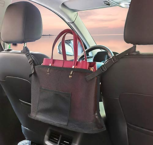 BXKM Car Net Pocket Handbag Holder,Car Backseat Organizer,Car Mesh Organizer,Handbag Holder for Car,Seat Back Net Bag,Driver Storage Netting Pouch,Car Storage for Purse Phone Documents