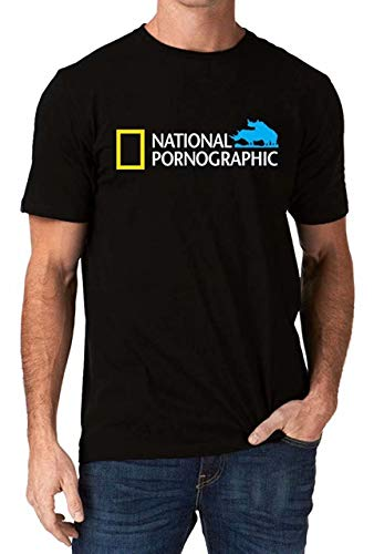 STONSTAIN Funny National Pornographic Geographic Wild Porn Rude Dirty Men's T-Shirt Black