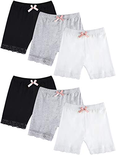(6 Pieces Girl's Safety Shorts Stretch Dance Shorts Bike Shorts Underwear (8-10 Years Size))