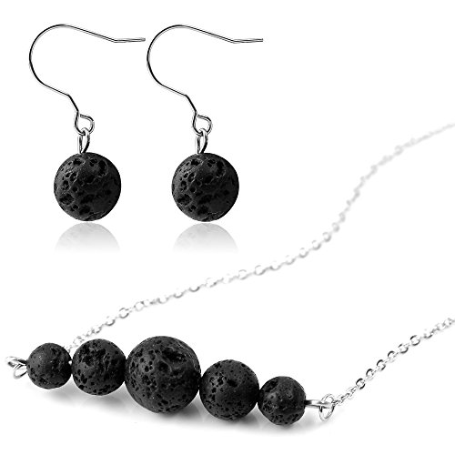 Ear Bead - Lava Stone Aromatherapy Essential Oil Diffuser Necklace with Lava Stone Earring - Stainless Steel