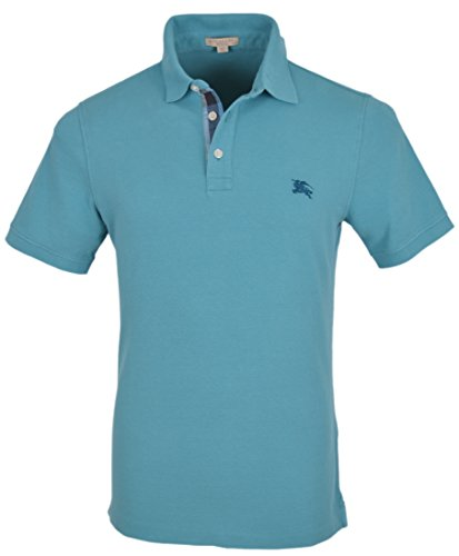 Burberry Brit Men s Turquoise Cotton Nova Check Placket Polo Shirt 9a3cefe84ed0