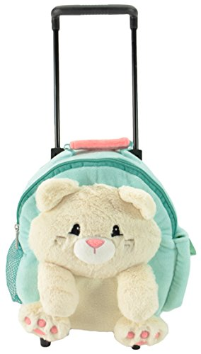 Animal Adventure Jolley Trolley | Plush Backpack | Teal Cat | 5