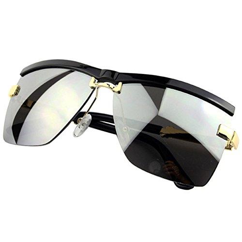 Sumery Unisex Semi-Rimless Frame Sunglasses Luxury Design Outdoor Sunglasses Lovers Gift (Black,