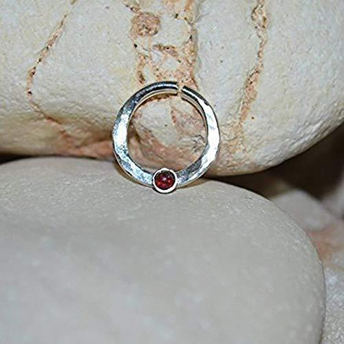 Nipple Ring Septum Hoop Daith Hoop 2mm Opal Septum Ring Silver