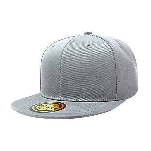 Flat Visor Snapback Hat Blank Cap Baseball Cap - 8 Colors (L.Grey) ()
