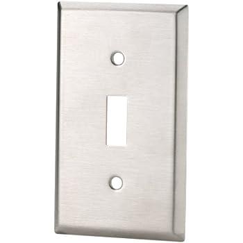 eaton standard size stainless steel 1gang toggle switch wallplate satin brush finish