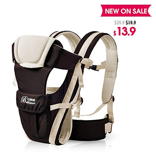SpringBuds Ergonomic Baby Carrier Backpack Lightweight Windproof Front and Back 6-in-1 (Oreo))