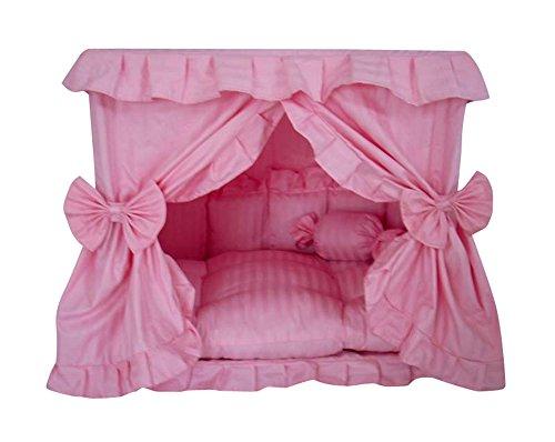 Princess Pink Pet Dog Handmade Bed House+1 Candy Pillow
