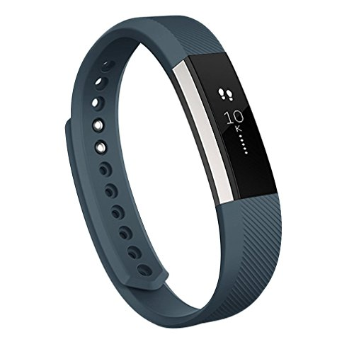 Wishesport For Fitbit Alta HR and Alta Bands, Accessory Soft Silicone Replacement Wristband with Secure Metal Buckle Clasp for Fitbit Alta HR Sport Smart Watch L Grey