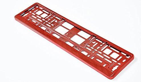 versch. Farben Kennzeichenhalterung mit abnehmbarer Leiste - 2 x Nummernschildhalter ohne Werbung AA Rot Metallic Farbige Kennzeichenhalter