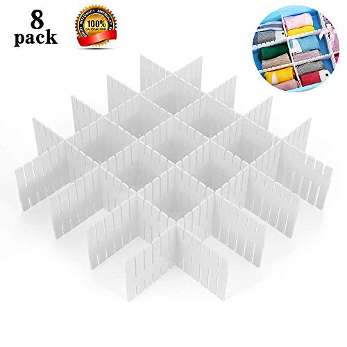 8pcs DIY Plastic Grid Drawer Divider Household Storage ShineMeThickening Housing Spacer Sub-Grid Finishing Shelves for Home Tidy Closet Stationary Makeup Socks Underwear Scarves Organizer (White)