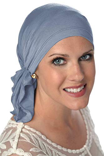 (Slip-On Scarf- Caps for Women with Chemo Cancer Hair Loss Denim)