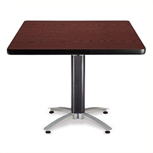 OFM KMT42SQ-MHGY Square Multi-Purpose Table, Metal Mesh Base, 42'', Mahogany by OFM