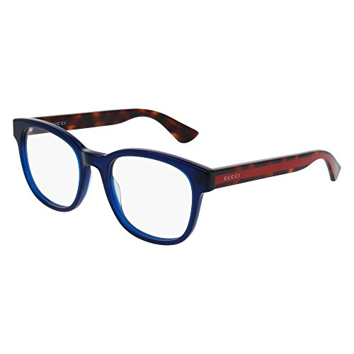 Gucci GG 0005O 008 Blue Plastic Square Eyeglasses - Gucci Glasses Women