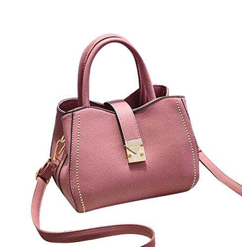 Baymate Moda Bolsos Para Mujer PU Piel Tote Bolsa Crossbody Shopper Bolsos Oscuro Pink