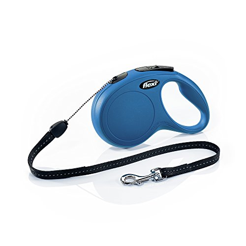 (Flexi New Classic Retractable Dog Leash (Cord), 26 ft, Small, Blue)