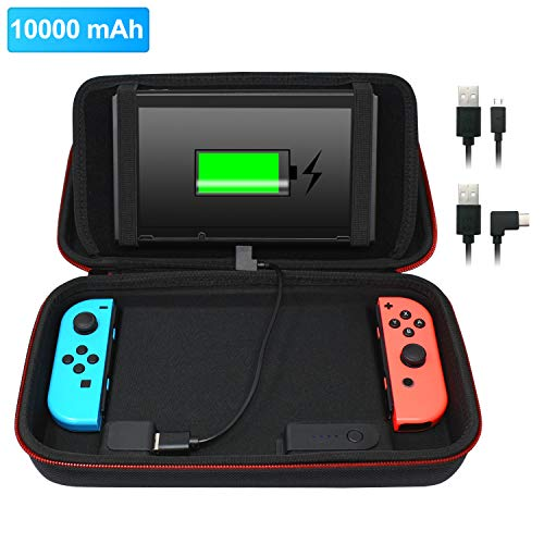 (Stand Charging Case Bag Compatible with Nintendo Switch with Built-in 10000mAh Recharge Battery and 8 Game Card Holders - Black)