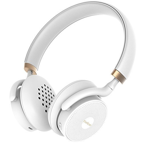 bebe Boom Wireless Designer Headphones for Women - Cordless On Ear Bluetooth Headphones with Mic and 18 Hour Playtime - Lightweight Over Ear Headphones White and Gold - for iPhone Android Smartphone