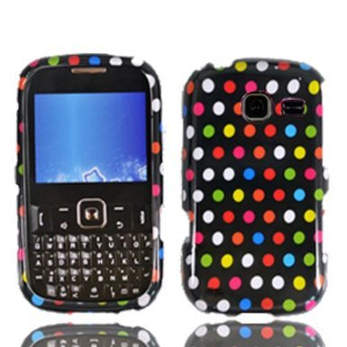 LF 3 in 1 Hard Case Cover, Stylus & Droid Screen Wiper Bundle Accessory For Tracfone Straight Talk Prepaid Cell Phone Samsung S380C (Rainbow Dots) (Samsung S380c compare prices)