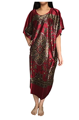Leright Women's Long Nightgowns Batwing Printed Satin Sleepwear Silk Lounge Wear