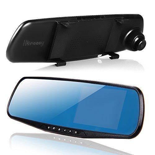 ihreesy Dual Lens, Night Vision Car Camera with G-Sensor, Full HD 1080P Large Rear View Mirror, 4.3