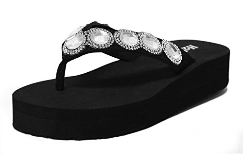Embellished Platform - Wedges for Women, BLACK BOX FLAT Women's Soft Comfy Cushioned Platform Foam Super Lightweight Wedges Flip Flop Thong Sandal Slip-On Slipper Rhinestones Embellished Strap 40554 Black Size 9 M US Size