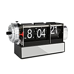 LEANINGTECH Dynamic Metal Flip Down Desk Clock Creative Small Alarm Clock, Desktop Home Table Internal Gear Operated Mechanical Clock