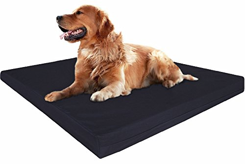 Dogbed4less Extra Large Orthopedic Memory Foam Dog Bed with Durable Washable Black Canvas Cover, Waterproof Liner and Extra Pet Bed Case, Gel Cooling 40X35X4 Pad by Dogbed4less