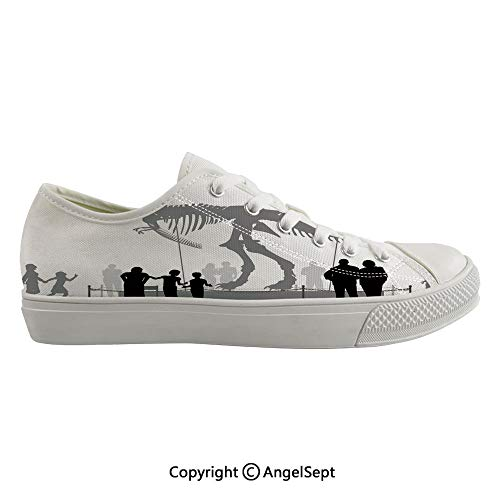 Durable Anti-Slip Sole Washable Canvas Shoes 17.32inch Silhouettes of People Looking at a Tyrannosaurus Rex Skeleton in a Museum Decorative,Dimgrey Black White Flexible and Soft Nice Gift (Best Shoes For Flat Footed Person)