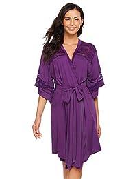 Etuoji Women Half Sleeve Kimono Robe Lightweight Night Gown with Belt