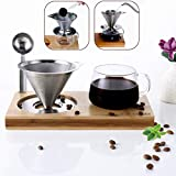 Pour Over Coffee Maker -Single Serve Coffee Brewer – Stainless Steel Filter Reusable Paperless Dipper Hand Drip Set with Bonus Standard Glass Cup, Coffee Spoon and Non-slip Bamboo Stand, Whole Set
