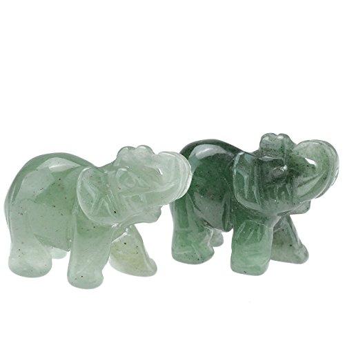 - JOVIVI 2pc Natural Carved Gemstones Elephant Figurine 1.5'' Room Decoration, with Gift Box (Green Aventurine)