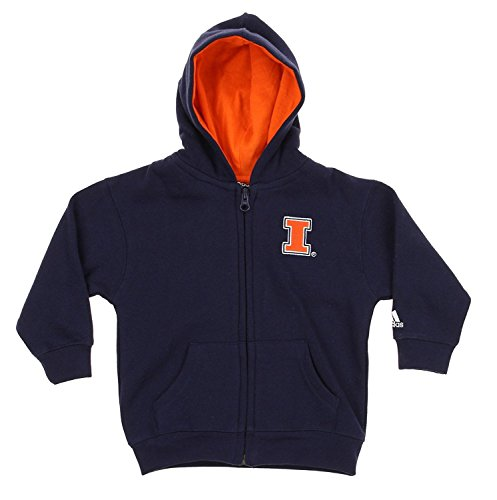 Illinois Fighting Illini NCAA Infants Full Zip Hooded Sweatshirt Hoodie, Navy (24 Months)