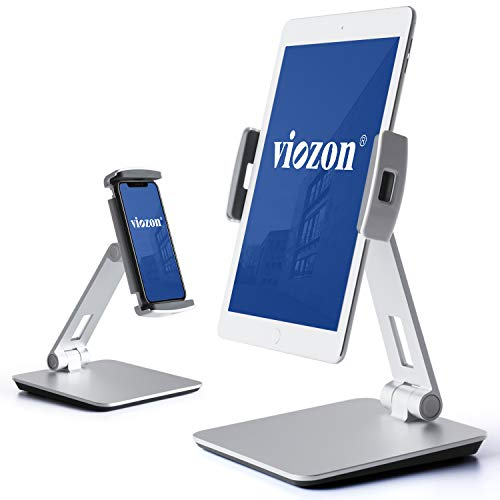 (Viozon Stand, Tablet Stands 360° Rotatable Aluminum Alloy Desktop Mount Stand for 7-13inch Tablet,3.5-6.5 inch Cellphone iPad Pro iPadAir iPad Mini Surface and Surface Pro (Silver))