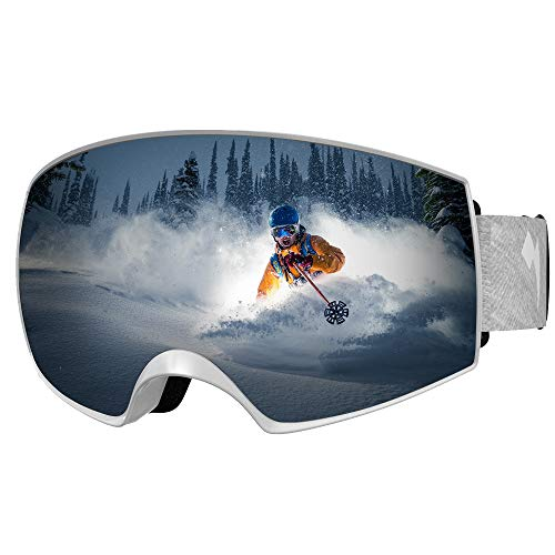 WhiteFang Ski Goggles PRO Snow Goggles Magnet Dual Layers Lens Over Glasses Design Anti-Fog 100% UV400 Protection Anti-Slip Strap Men Women Youth (White-Silver)