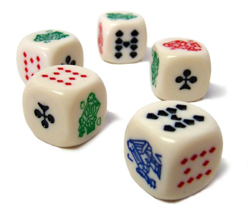 Colored Poker Dice - Set of 25 Dice by Poker