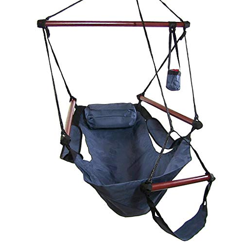 Sunnydaze Deluxe Hanging Hammock Air Chair with Pillow and Drink Holder, Solid Wood Bars, 24 Inch Wide Seat, Max Weight: 250 Pounds, Blue