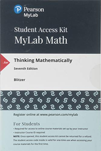 MyLab Math with Pearson eText -- 24 Month Standalone Access Card -- for Thinking Mathematically