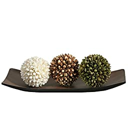 Hosley Decorative Tray and Floral Orb/Ball Set. Great Gift. Ideal for Home office, Spa or Aromatherapy settings