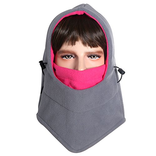 Dseap Balaclava Hood - Windproof/Thick/Breathable/Lightweight/Fleece Winter Face Mask, for Snow Ski Cycling Ice Fishing Parkour Outdoor Sports, Women Ladies Men Children, Grey & Hot Pink ()